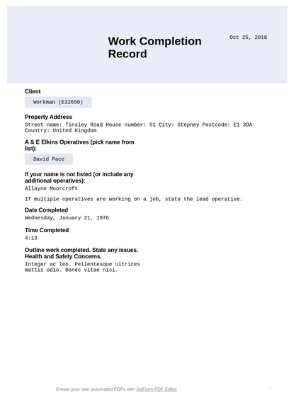 Work Completion Record