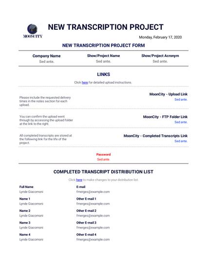 New Transcription Project Form