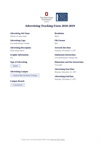 Advertising Tracking Form