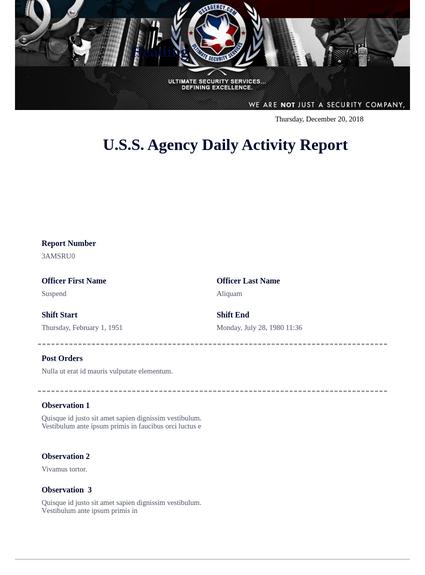 U.S.S. Agency DAR