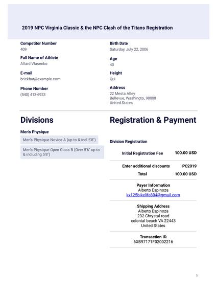 Show Registration Form