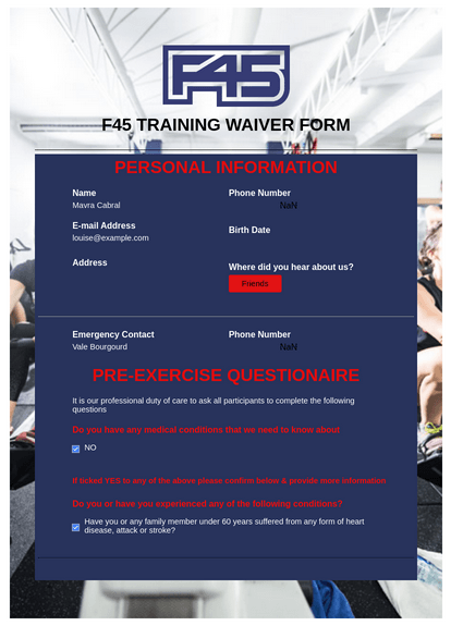 F45 Chermside Waiver Form