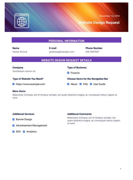 Website Design Request