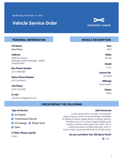 Vehicle Service Order