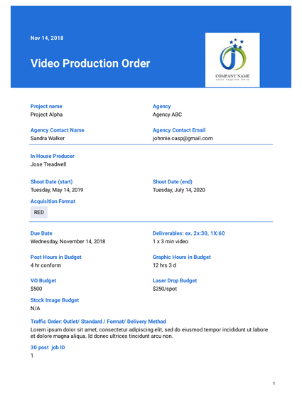 Video Production Order