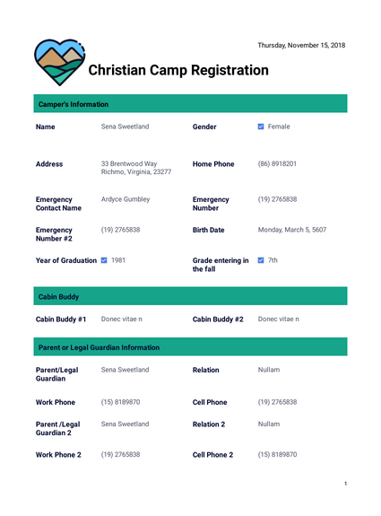 Christian Camp Registration