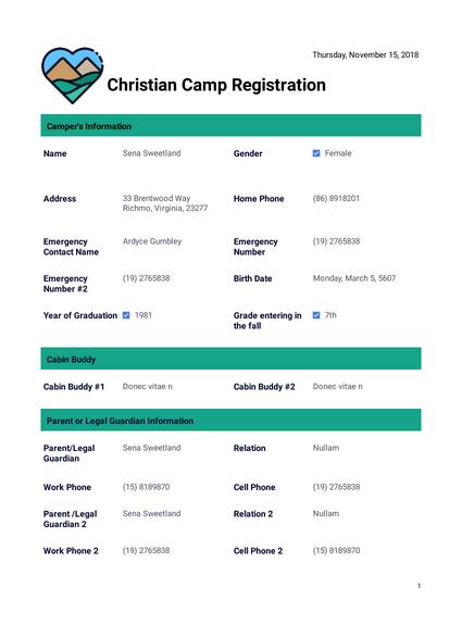 Christian Camp Registration