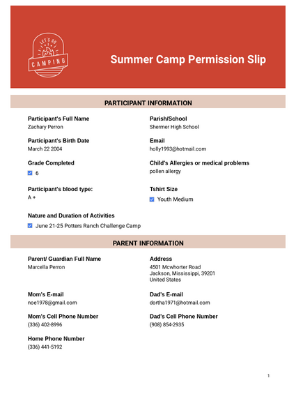 Summer Camp Permission Slip