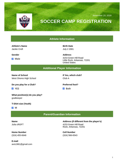 soccer camp registration template