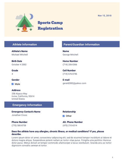 sports camp registration template
