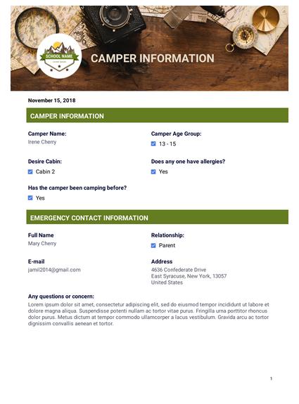 Summer Camp Emergency Contact - PDF Templates | JotForm