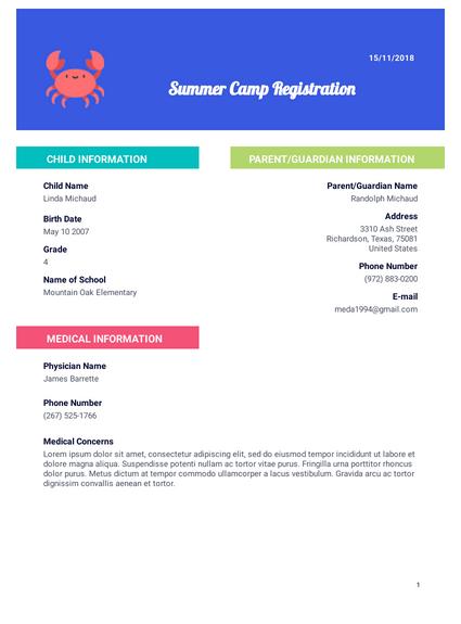 Summer Camp Registration