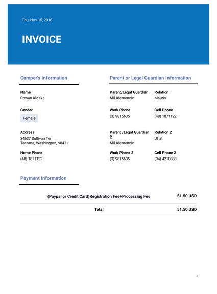 Summer Camp Invoice