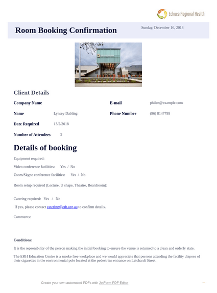 Room Booking Confirmation