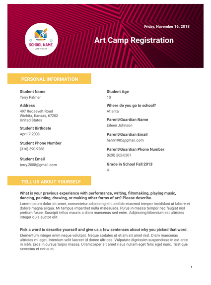 art camp registration template