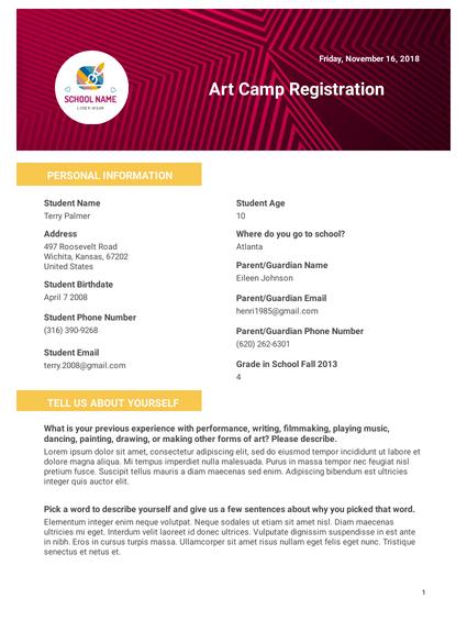 Art Camp Registration