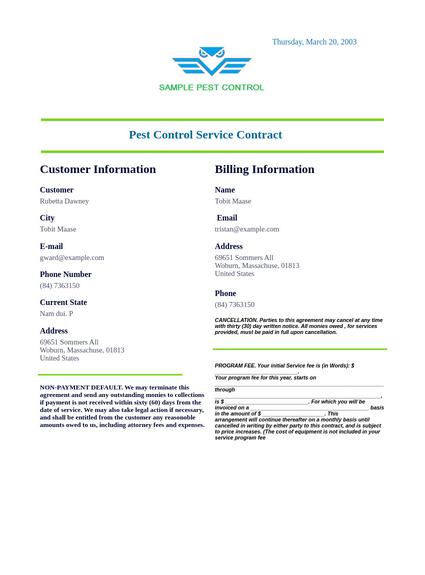 Pest Control Service Contract Template Pdf Templates Jotform