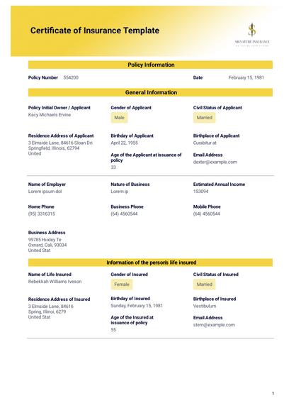 Certificate of Insurance Template - PDF Templates | JotForm