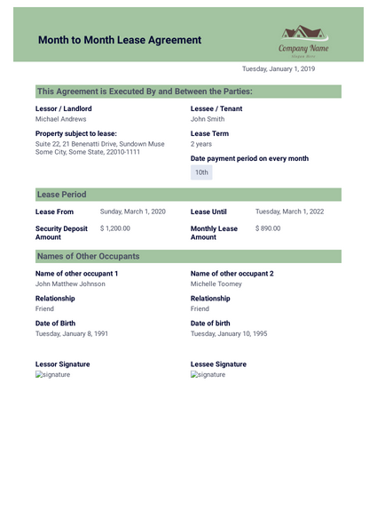 Month To Month Rental Agreement Template Pdf Templates
