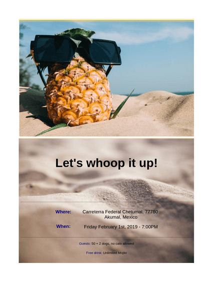 Beach Party Invitation Form