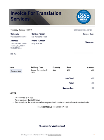 Invoice Template for Translation Services