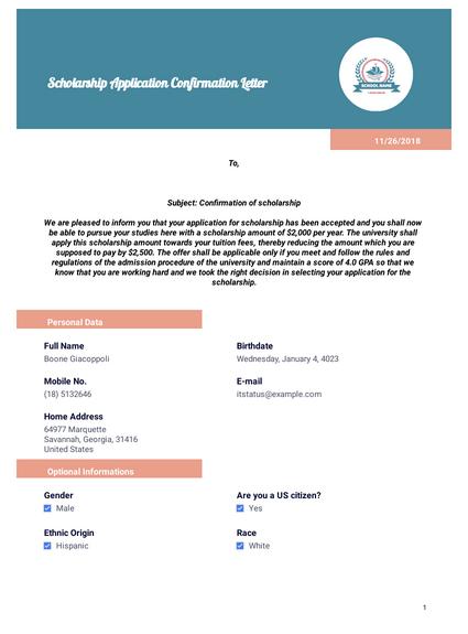 Scholarship Application Confirmation Letter