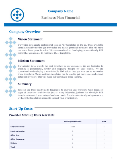 Business Plan Financial