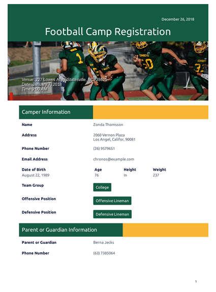 football camp registration pdf template