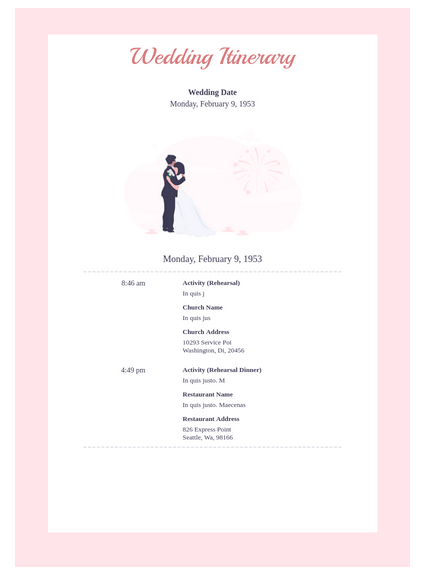 Wedding Itinerary Templates Fitbo Wpart Co
