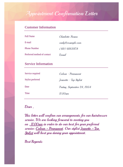 Confirmation Letter - PDF Templates | JotForm