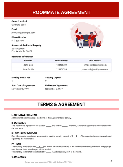 College Room Agreement