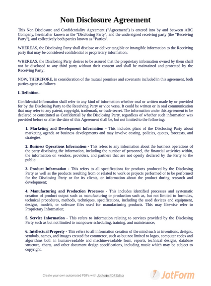 Non Disclosure Agreement Template Pdf Templates Jotform