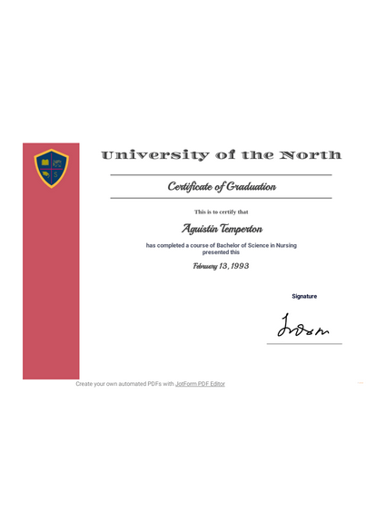 Free Graduation Certificate