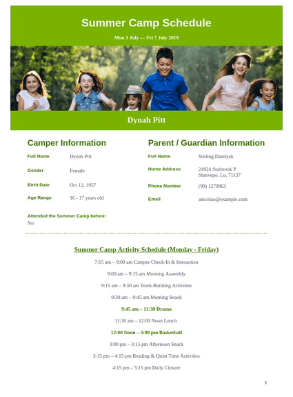 Summer Camp Schedule