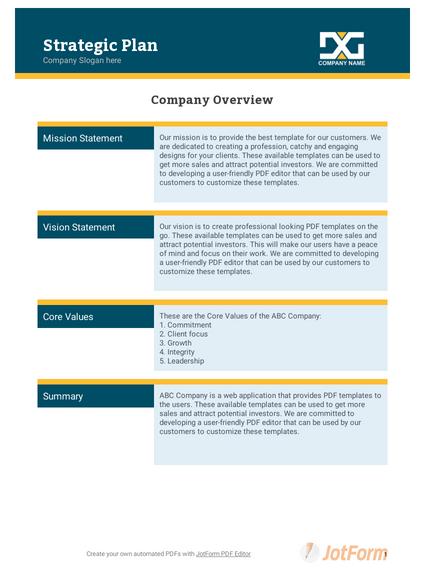 Strategic Plan Template - PDF Templates | JotForm