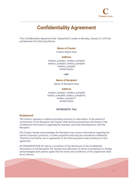 Confidentiality Agreement Template Pdf Templates Jotform