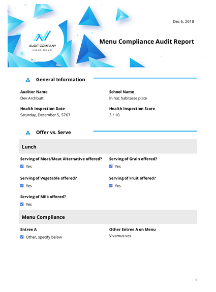 Menu Compliance Audit Report