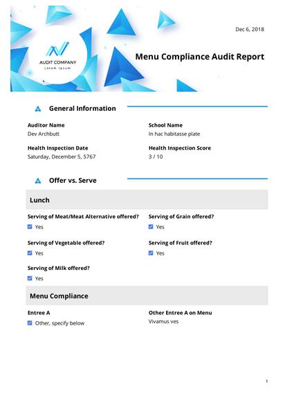 Menu Compliance Audit Report
