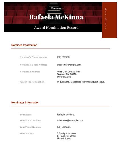 Award Nomination