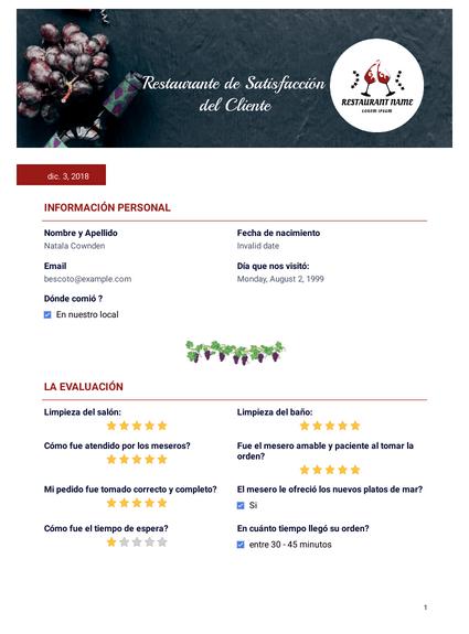 Plantilla PDF de Satisfacción del Cliente Restaurante