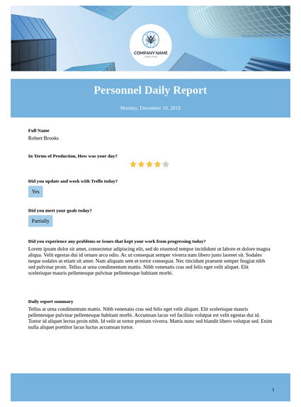Personnel Daily Report