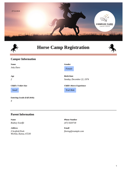 Horse Camp Registration Template
