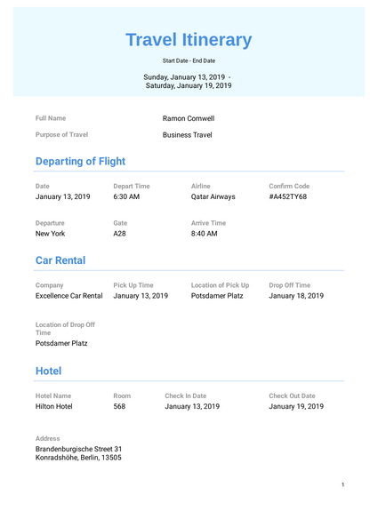 Business Travel Itinerary Template PDF Templates