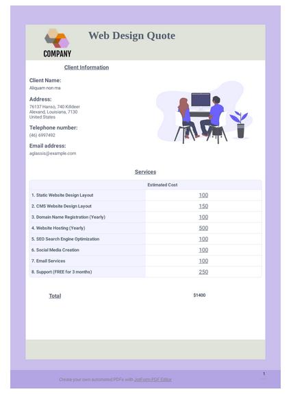 web design quote template pdf templates jotform