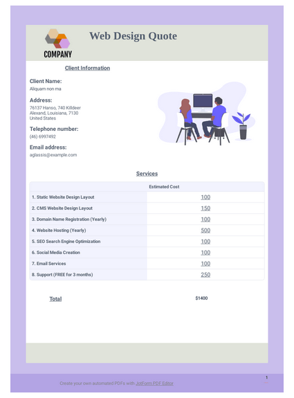 Web Design - PDF Templates | JotForm