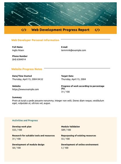 Web Development Progress Report