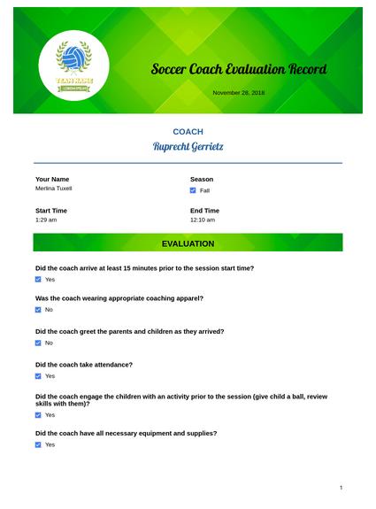 Soccer Coach Evaluation