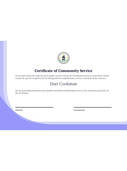 Community Service Certificate