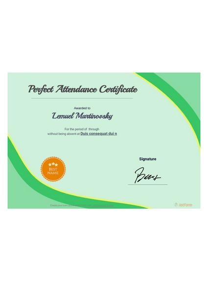 Perfect attendance award certificate template pdf templates.