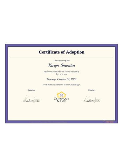 Adoption Certificate